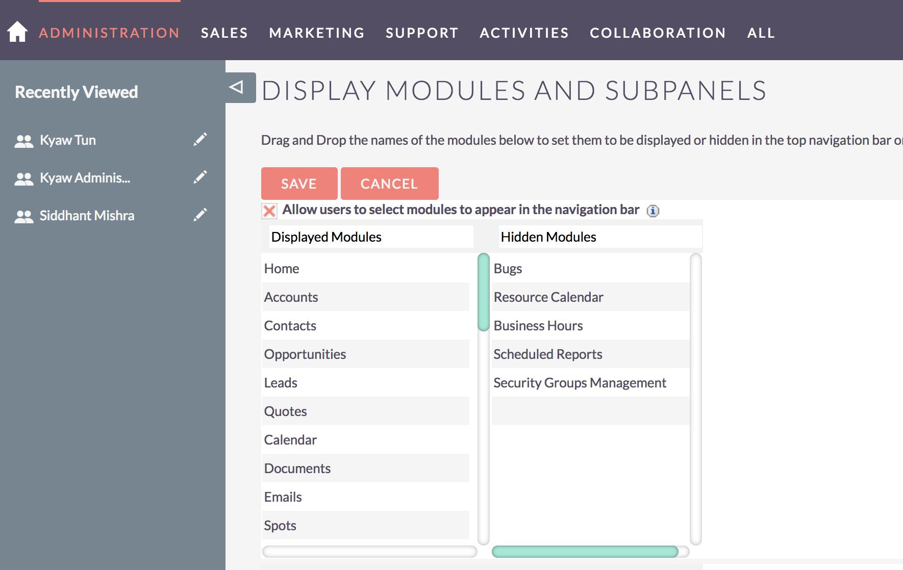 suitecrm-admin-module-display